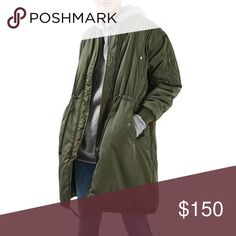 Topshop Olive Green Longline Bomber Jacket Brand: Topshop Size: 10 Color: Olive Green (see stock photo)  This item is brand new with tags. It is a beautiful longline bomber jacket and extremely warm. It features five pockets total; two on the chest and two at the bottom, both of which have a snap closure, along with another on the upper left arm. The jacket itself has a zip and snap closure. There are two drawstrings; one at the waist and the other at the hem of the jacket, both of which…