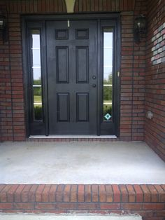 Superior Black Front Door On Red Brick With No Trim Colour, But Sidelights Make It  Airier