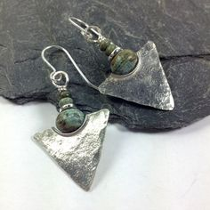 Sterling silver tribal earrings African turquoise spear