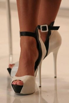 killer black and white stilettos with an ankle strap