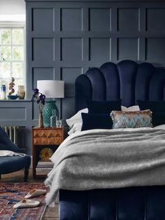 Velvet Bedroom, Bedroom Bed, Dark Teal Bedroom, Navy Master Bedroom, Jewel Tone Bedroom, Navy Bedroom Decor, Master Master, Master Bedroom Interior, Bed Room