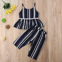 Stripe Peplum Set - Toddler Girl Stripe Peplum Outfit Set – The Trendy Toddlers Frocks For Girls, Toddler Girl Dresses, Toddler Outfits, Kids Outfits, Infant Dresses, Summer Outfits, Girls Frock Design, Baby Dress Design, Baby Frocks Designs