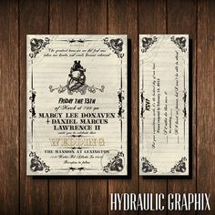 Friday the 13th Wedding Invitation and RSVP Ticket, Gothic Wedding Invite, Wedding Invitation with Anatomical Heart, Horror Theme Invite