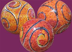 Sun Spheres, 2008 Installed in San Francisco at the intersection of Ocean Ave at Grenada. Ceramic tile and mirror on concrete sculptural forms. Spheres range in size from diameter to diameter: by Laurel True Mosaic Tile Designs, Mosaic Tile Art, Stone Mosaic, Mosaic Patterns, Mosaic Glass, Glass Art, Mosaic Rocks, Stained Glass, Bowling Ball Crafts