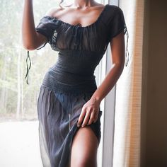 "Masha & Jlynn on Instagram: ""SOLD Vintage 90s 100% silk sheer black peasant dress. Size XS/S. Drawstring neckline and smocked waist. Gently used condition. Comes with…"" Fashion Killa, Runway Fashion, Fashion Beauty, Fashion Looks, Fashion Outfits, 90s Fashion, Pretty Outfits, Pretty Dresses, Beautiful Dresses"