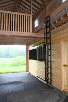 Monitor barn with half hay loft for additional natural light in the barn, plus a. Monitor barn with half hay loft for additional natural light in the barn, plus a ladder takes up le Goat Barn, Farm Barn, Horse Shelter, Horse Stables, Horse Tack Rooms, Horse Farms, Rinder Stall, Small Horse Barns, Farm Plans