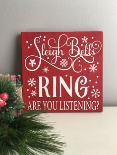 Christmas Wood Sign - Sleigh Bells Ring Sign - Christmas Decor - Holiday Decor - Christmas Sign - Fireplace Decor - Mantle Decor - Christmas by EastCoastChicagoan on Etsy https://www.etsy.com/listing/484530259/christmas-wood-sign-sleigh-bells-ring