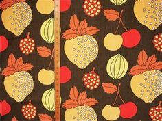 FAB 1970s VINTAGE COTTON FABRIC - FUNKY FRUITS - 'RYE'