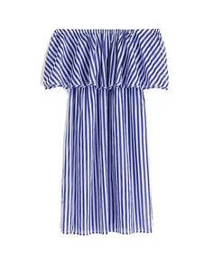 Buy J. Crew Off-the-shoulder bold blue striped dress Online - Wardrobe Icons. Hand selected fashion favourites. The chicest choices for the latest trends.