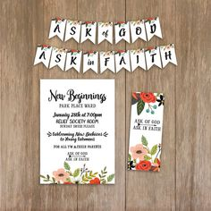 Items similar to New Beginnings LDS Young Women Invitation Program Scripture Printable Set Ask of God Ask in Faith 2017 Theme on Etsy Young Women Activities, Youth Activities, Church Activities, New Beginnings Young Women, Lds News, Yw In Excellence, Youth Programs, Personal Progress, Girls Camp