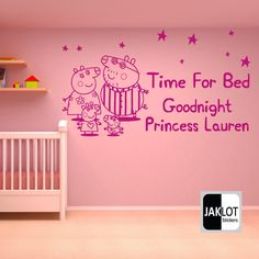 PEPPA PIG TIME FOR BED - PERSONALISED X LARGE Vinyl Nursery Wall Sticker Bedroom