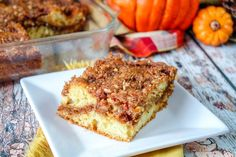 Sour Cream Pumpkin Coffee Cake With Pecan Streusel #Thanksgiving #Christmas #sour cream #coffee #coffeecake #pumpkin #Fall #cake #justapinchrecipes