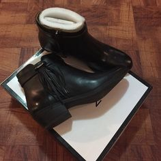 Nine West bootie pair of leather Nine West ankle booties . So unbelievably comfortable and fashionable. Side is delicately adorned with fringes . Retail $150.00. These are new and 100% leather . Price is firm Nine West Shoes Ankle Boots & Booties