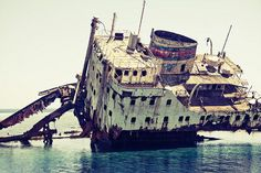 Sharm El sheikh, Egypt.  Gordon Reef sunken ship.