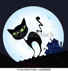 Vektor - Schwarz, katz, silhouette, in, Nacht, Stadt - Stock Illustration…