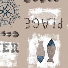 Tafelzeil Plage Blauw - Tafelzeil met maritiem print van vissen, kompassen en stenen in blauw. Het tafelzeil valt soepel om de tafel en is gemakkelijk schoon te vegen met een vochtige doek. De bovenkant is gemaakt van pvc en de onderkant is een ongeweven vliesrug. Kies de lengte in het menu en we maken het tafelkleed voor u op lengte! Vintage World Maps, Prints, Artwork, Silver, Work Of Art, Money