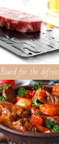 Fast Defrosting Tray For Frozen Foods. The Fast Defrosting Tray For Frozen Foods allows you to thaw out your frozen meat and food quickly and naturally. It's perfect for thawing out meat in just minutes and defrosting smaller food items, such as burgers, sausages, prawns and bacon is even faster!#Defrosting#meat#Trendinkitchen# Cooking Utensil Holder, Cooking Utensils, Small Meals, Sausages, Prawn, Food Items, Burgers, Bacon, Curry