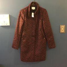 LOFT leopard print coat Navy and maroon leopard print, brand new, front zip pockets LOFT Jackets & Coats