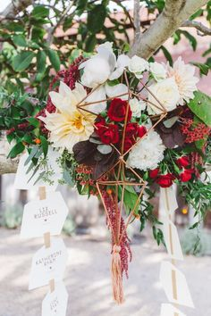 Cascading wedding escort cards: http://www.stylemepretty.com/2017/03/24/a-modern-ranch-wedding-with-a-nothing-stuffy-rule/ Photography: Anna Delores - http://www.annadelores.com/