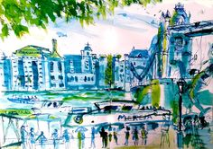 Pen & Ink drawing of Tower Bridge London UK, across from Butlers Wharf. by Rosie Woods http://www.rosiewoods.com/design.htm