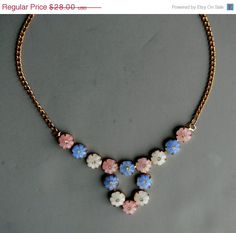 July SALE Vintage Necklace Molded Glass and Rhinestone by jujubee1, $19.60