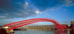 Python Bridge, connecting Sporenburg and Borneo Island in Eastern Docklands, Amsterdam, built 2001 by West 8. - Urban Design and Landscape Architecture. Photography by West 8.