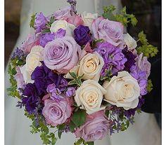 Purple Carnation and lavender rose bouquet | tied bouquet of ivory and lavender roses, purple lisianthus, lavender ...
