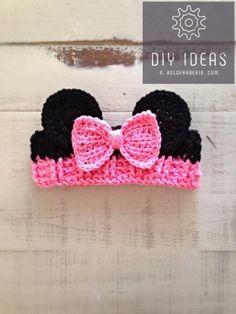 Crochet Patterns Girl Crochet Girl Minnie Mouse Ear Warmer, Pink Headband, Minnie Ear Warmer, Minnie M… Crochet Toddler, Baby Girl Crochet, Crochet For Kids, Crochet Headband Free, Crochet Hats, Minnie Mouse Headband, Crochet Minnie Mouse Hat, Baby Hut, Pink Headbands