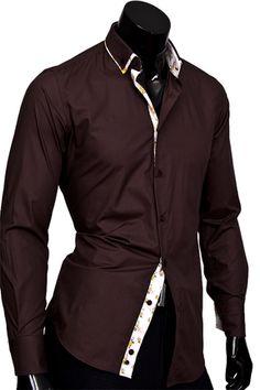 1cb5716f877 Коричневая приталенная мужская рубашка с двойным воротником купить недорого  в интернет магазине