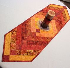 Autumn Quilted Table Runner  Orange Gold Rust by QuiltSewPieceful
