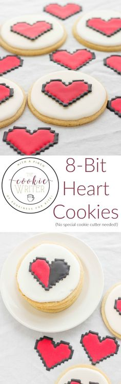 How to make 8-bit heart cookies | http://thecookiewriter.com | /thecookiewriter/ | #dessert No special cookie cutter required!