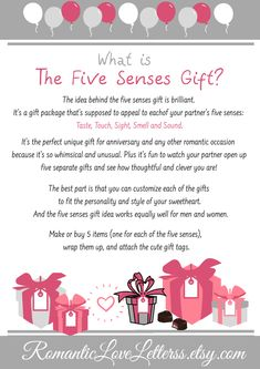 What Is The Five Senses Gift? The idea behind the 5 senses gift is brilliant. - What Is The Five Senses Gift? The idea behind the 5 senses gift is brilliant. It's a gift package - 5 Senses Gift For Boyfriend, Thoughtful Gifts For Boyfriend, Gifts For Your Boyfriend, Cute Valentines Day Gifts, Valentines Gifts For Boyfriend, Boyfriend Anniversary Gifts, Anniversary Ideas, Five Senses Gift, Love Cards For Him