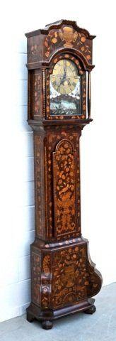 18th/19th C. DUTCH MARQUETRY TALL CASE CLOCK. FRUITWOOD.
