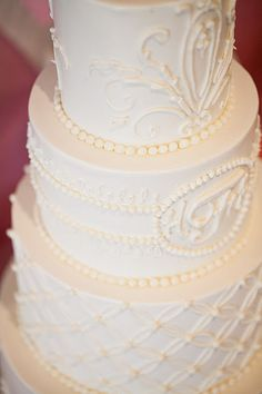 White on white wedding cake with piped scrollwork and monogram- maybe just the bottom 2 with the fence look White Wedding Cakes, Beautiful Wedding Cakes, Beautiful Cakes, August Wedding, Our Wedding, Dream Wedding, Dessert Buffet, Here Comes The Bride, Shower Cakes