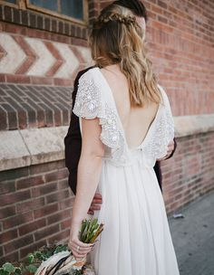 Rue de Seine Wedding Dress on green wedding shoes