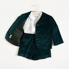 Vintage 1960s Boys Size 2 Clothing Set Imp Teal Green Velvet