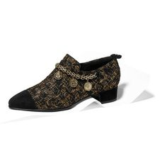 Short boots, tweed & velvet goatskin-black & gold - CHANEL