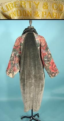 c. 1920's LIBERTY & COMPANY, London & Paris Velvet Coat with Floral Printed Sleeves. A soft sage green silk velvet in a cocoon shape with collar that can be worn closed or open, with just one button closure.  The dolman sleeves are actually a unique floral printed heavy woven cotton/linen (like a soft wonderful burlap)!  Oh, and obviously in a lovely muted floral design.The coat is lined in the palest green satin.