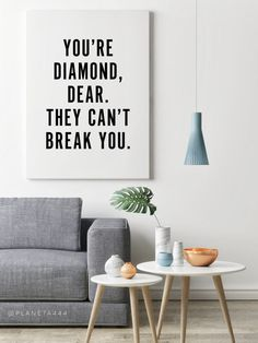 You're Diamond Girl They Can't Break You Typographic Motivational Minimal Black White Decor Quote Poster Prints Printable Wall Art Artwork