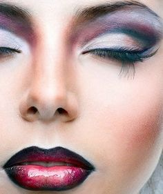 Dramatic makeup. Anyone know how to do this?  Line your lips with black eyeliner.  Fill in with a deep red/burgundy lip liner.  Top with a beautiful red lipstick or high gloss lip gloss.