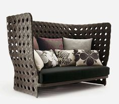 Vienna straw high-back loveseat/sofa Canasta Woven Furniture from B&B Italia