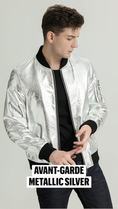 Boys Leather Jacket, Coloured Leather Jacket, Metallic Bomber Jacket, Brown Jacket, Latest Outfits, Mens Clothing Styles, Casual Chic, Real Leather, Casual Looks