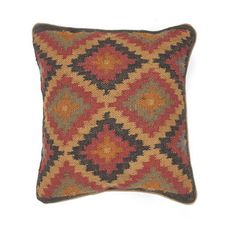 Traditional Wool/ Jute Muliti-color Square Pillows (Set of 2) | Overstock.com Shopping - Great Deals on JRCPL Throw Pillows