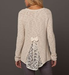 Easy jumper Hack - cut back of a sweater that's too small and insert lace. Cutting higher will make sweater looser in chest and neck. The wider the lace the more give.