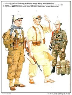FRENCH FOREIGN LEGION SINCE 1945 LEGION ETRANGERE GUERRE UNIFORME HISTORIQUE  COMBAT INDOCHINE ALGERIE