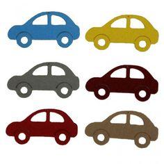 Figurine din fetru - masini dif culori (8cm, 6 buc/set)