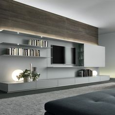 A new conception of the living room system. The design consists of a large panel in lacquered glass, a pure surface alive with light and reflections, which holds storage units made entirely of glass including drawers and coplanar sliding doors, extremely thin shelves and display cases with tilt doors. <br /> The back panels are fitted with a LED lighting system in the upper and lower sections. Abacus living offers exceptional composition possibilities with glass wall panels availab...