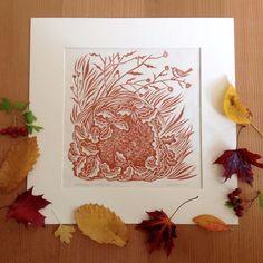 Celia Hart ~ Dreaming of Spring ~ Linocut, on Japanese Kitakata paper, 19 x 19 cm