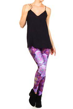 Purple Succulent Leggings. Shop now at POPRAGEOUS.com!