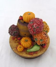 Yankee Candle Jar Topper Autumn Pumpkins Mums Fall Apples Lid Cover Flowers #YankeeCandle #CandleTopper